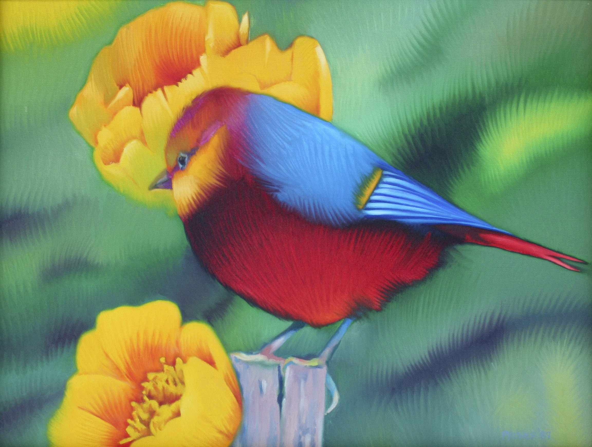 Pruner, Gary – #127 Bird Yellow Flower