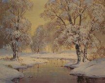 Ernest Fredericks, Snow Scene With Stream