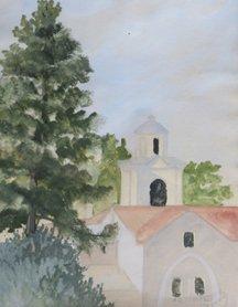 A.K. Tzenoe, View Of Church Through Trees, 1965