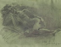 Jian Wang, Untitled Figure On Green, 1997