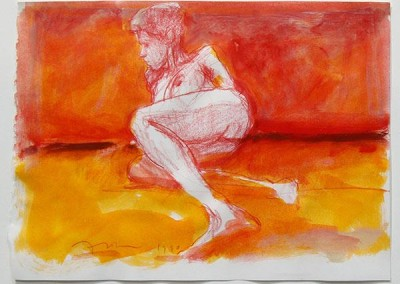 Kim Frohsin, Red And Orange Nude Reclining, 1990