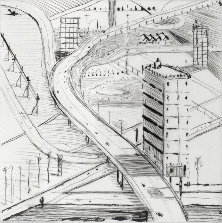 Wayne Thiebaud, Freeway Buildings 7/35, 1998