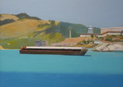 Kim Frohsin, Cargo Boat With Alcatraz, 1996