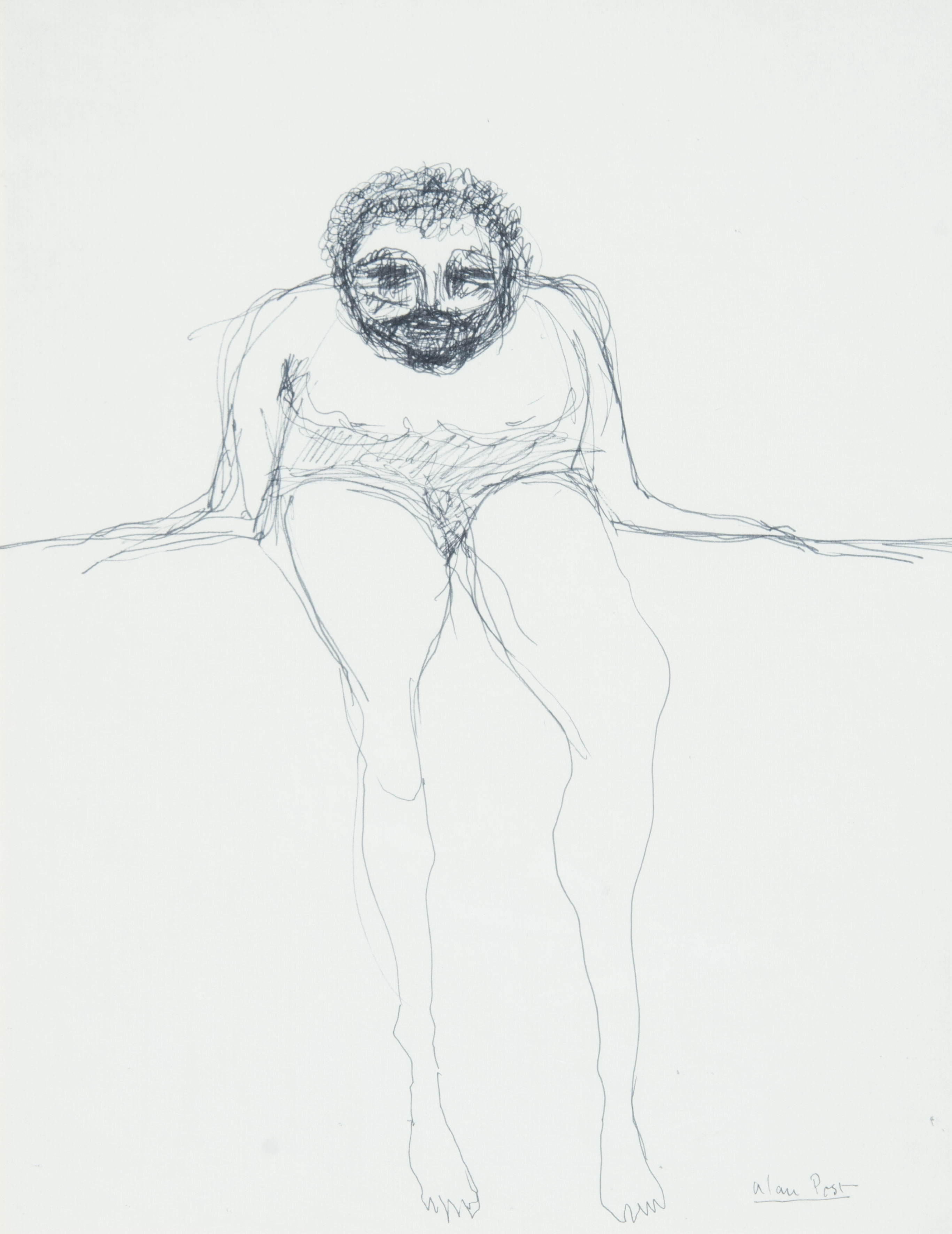 Alan Post, Seated Bearded Figure, c. 1970