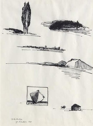 Gregory Kondos, Untitled Sketches, 1969