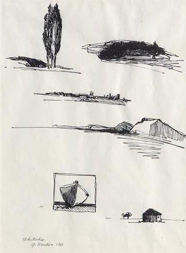 Gregory Kondos, Untitled Sketches, 1969