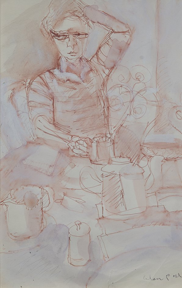 Alan Post, Figure With Coffee Pots