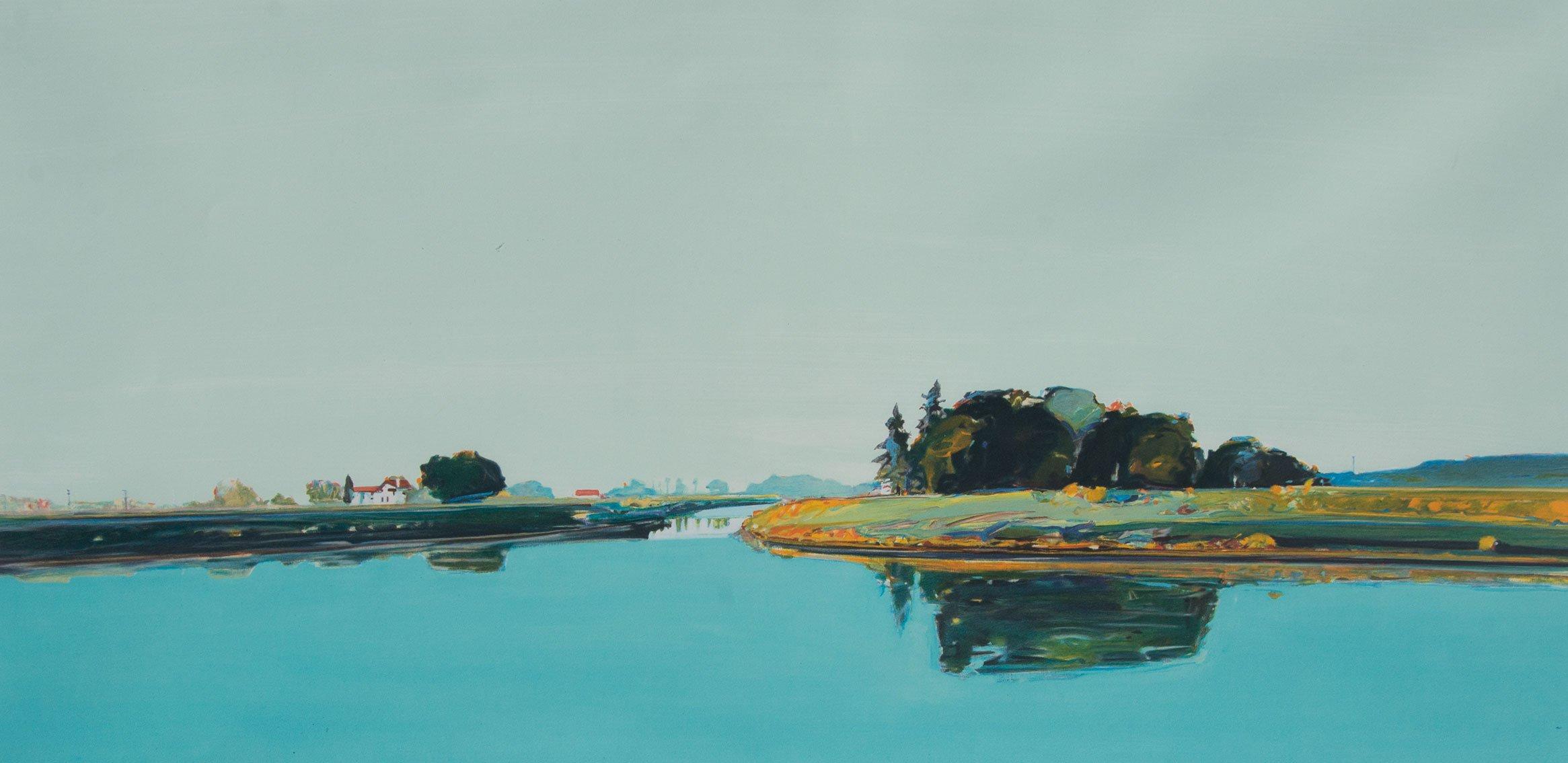 Gregory Kondos, River View 76/100, 1990