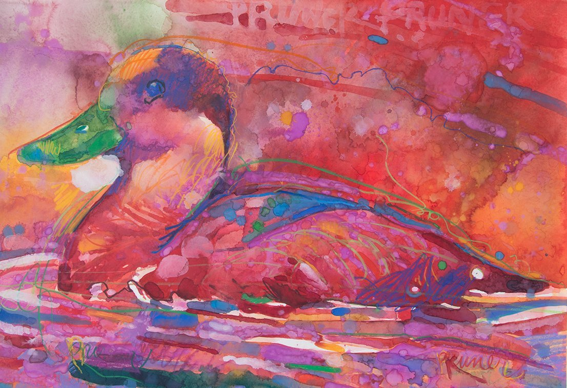 Gary Pruner, Red Duck In Red Water, 1986